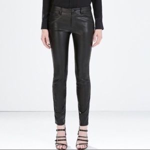 Zara mid rise slim fit faux leather jeans